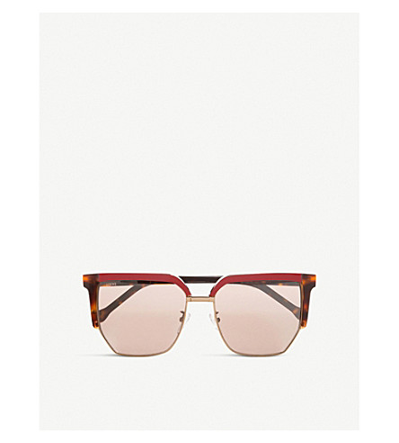 LOEWE Sara square-frame sunglasses (Burgundy/dark+havana