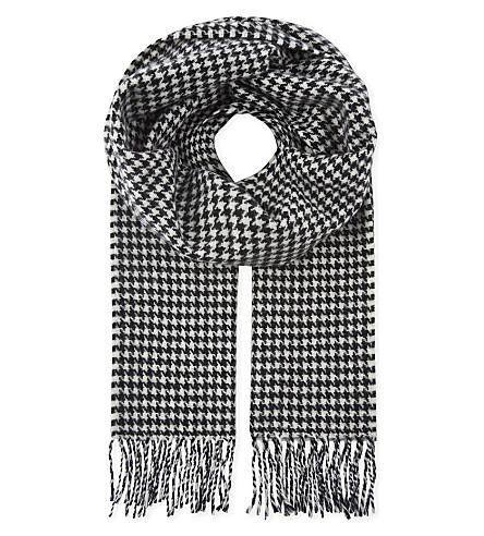 SANDRO Houndstooth printed wool scarf (Black+white