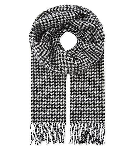 SANDRO Houndstooth printed wool scarf (Black+white