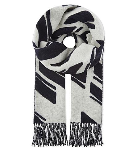 SANDRO Printed wool-blend scarf (Navy+blue