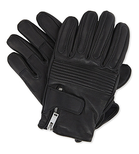 SANDRO Leather racer gloves (Black
