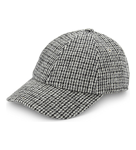 SANDRO Houndstooth wool cap (Black+white