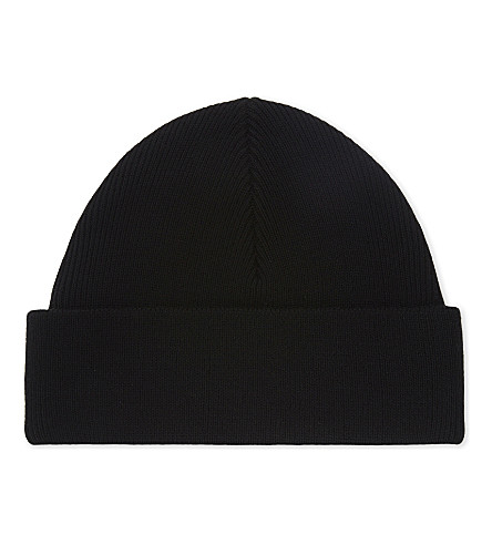 SANDRO Knitted ribbed beanie (Black