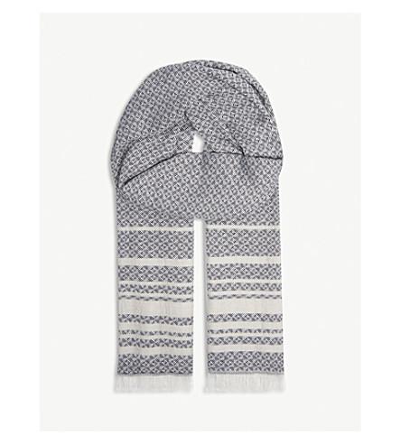 SANDRO Striped and diamond print jacquard scarf (Ecru