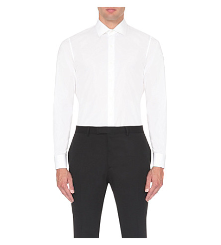 SANDRO Slim-fit single-cuff cotton shirt (White