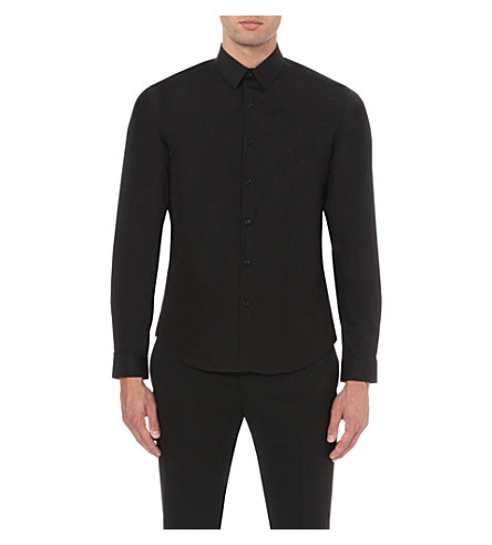 SANDRO Single-cuff cotton shirt (Black