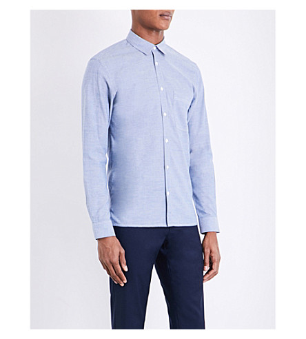 SANDRO Grain-effect regular-fit cotton-blend shirt (Sky+blue