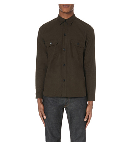 SANDRO US Navy regular-fit cotton shirt (Khaki