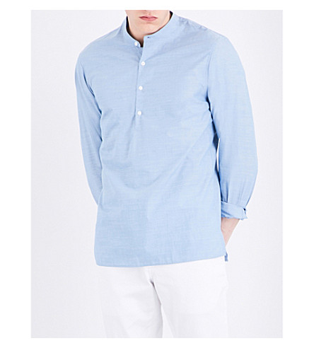 SANDRO Pearlescent-button cotton shirt (Sky+blue