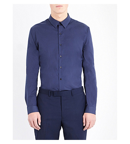 SANDRO Slim-fit cotton-blend shirt (Blue