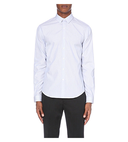 SANDRO Slim-fit striped cotton shirt (White/bleu