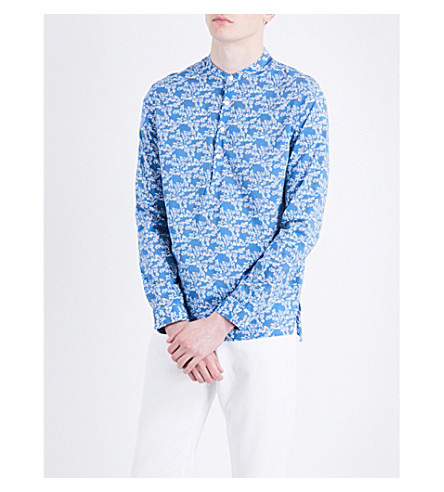 SANDRO Floral-print regular-fit cotton shirt (Blue