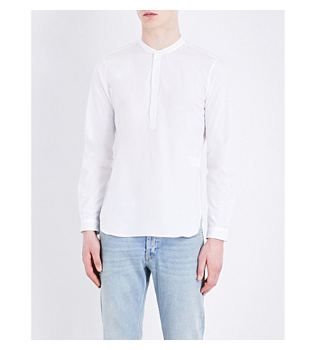 SANDRO mandarin-collar cotton shirt (White