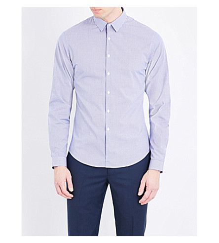 SANDRO Regular-fit check-print cotton shirt (Navy+blue