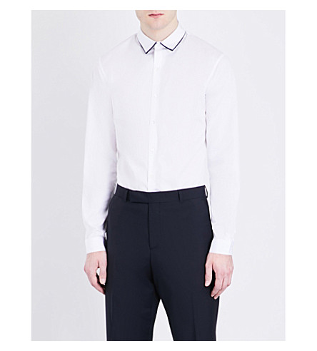 SANDRO Contrast-collar slim-fit pure-cotton shirt (White