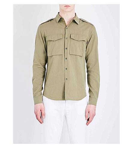 SANDRO Regular-fit cotton shirt (Olive+green