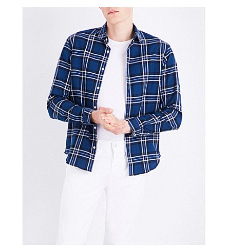 SANDRO Checked cotton shirt (Navy+blue