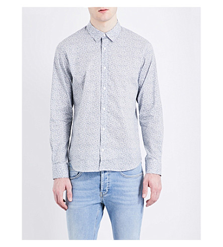 SANDRO Floral regular-fit spread-collar pure-cotton shirt (White/blue