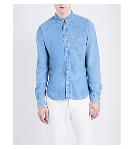 SANDRO Regular-fit pure-cotton denim shirt (Blue+vintage+-+denim
