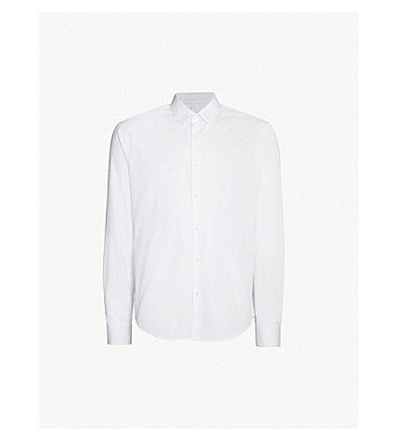 SANDRO Slim-fit cotton-poplin shirt (Blanc