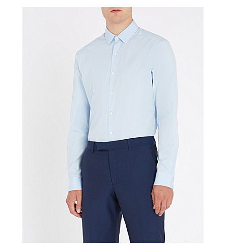 SANDRO Slim-fit cotton-poplin shirt (Bleu+ciel