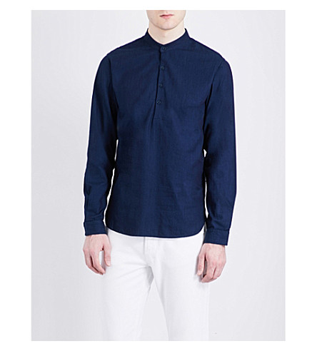 SANDRO Mardarin-collar regular-fit pure-cotton shirt (Indigo