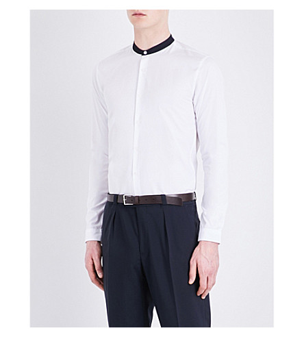 SANDRO Contrasting-collar cotton-poplin shirt (White