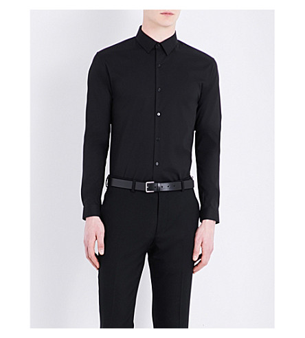 SANDRO Slim-fit stretch-cotton shirt (Black