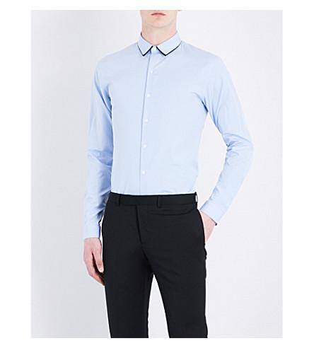 SANDRO Contrast-collar regular-fit cotton shirt (Sky+blue