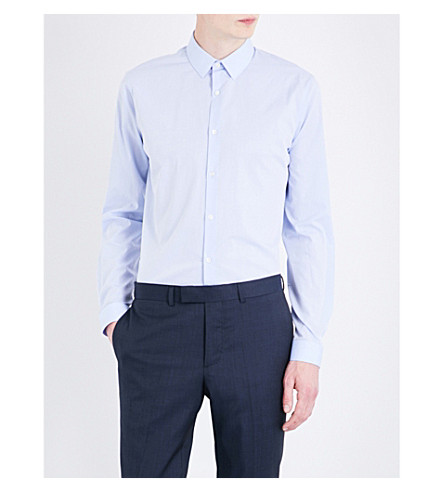 SANDRO Seamless slim-fit cotton shirt (Sky+blue