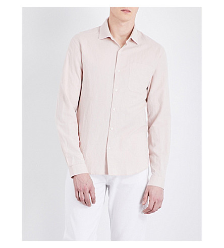 SANDRO Regular-fit linen and cotton-blend shirt (Pink