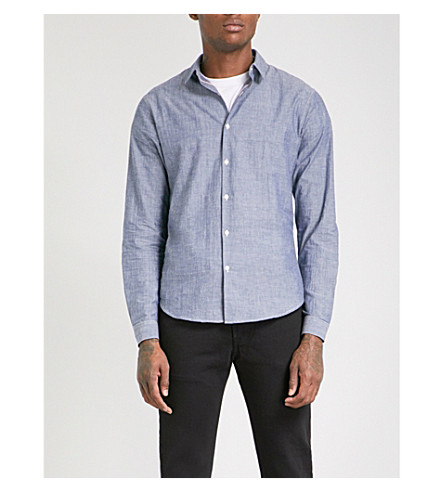 SANDRO Slim-fit cotton shirt (Blue