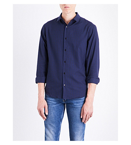 SANDRO Gingham-check regular-fit cotton shirt (Blue
