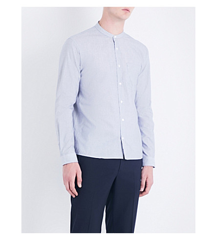 SANDRO Striped regular-fit cotton shirt (Grey+blue
