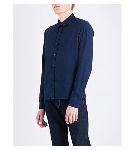 SANDRO 常规版型棉衬衫 (靛蓝