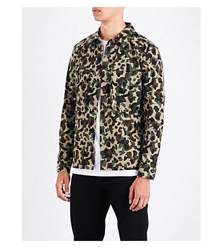 SANDRO Camouflage-pattern cotton shirt (Olive+green