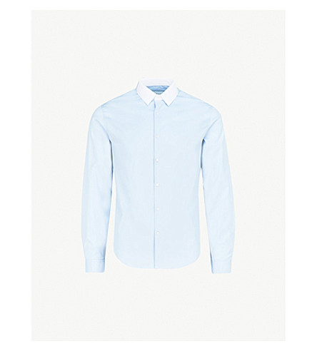 SANDRO Contrasting-collar regular-fit cotton shirt (Blue
