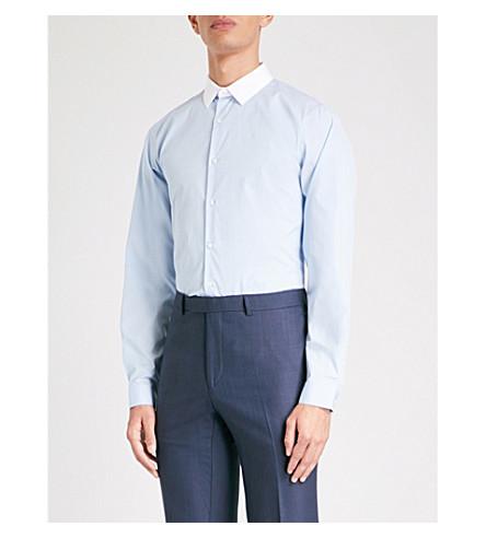 SANDRO Contrasting-collar regular-fit cotton shirt (Blue