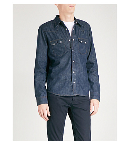 SANDRO Yoke-detailed regular-fit denim shirt (Raw-denim