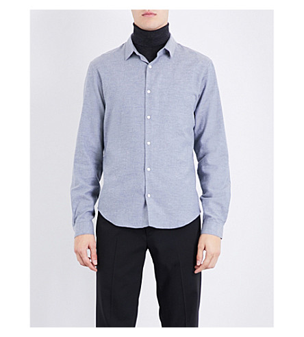 SANDRO Slim-fit brushed-cotton shirt (Bluish+grey