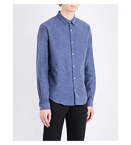 SANDRO Supra slim-fit brushed-cotton shirt (Sky+blue