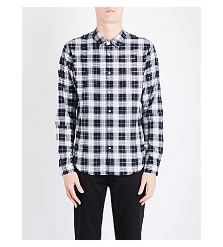 SANDRO Check brushed-cotton shirt (Blue