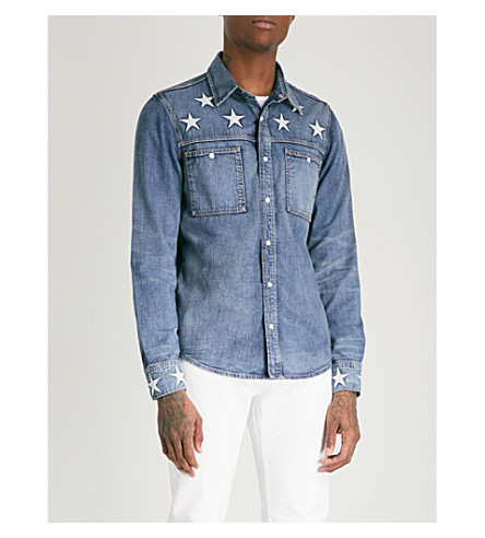 SANDRO Stardust regular-fit denim shirt (Blue+vintage+-+denim