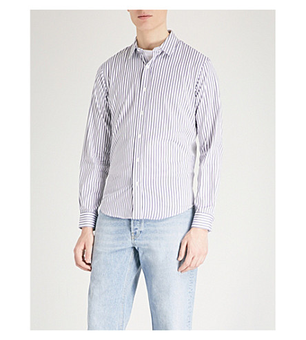 SANDRO Striped regular-fit cotton shirt (White/blue