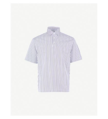 SANDRO Striped regular-fit cotton shirt (White/blue