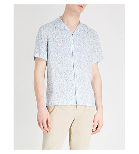 SANDRO Floral-pattern regular-fit woven shirt (Sky+blue
