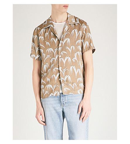 SANDRO Palm-print regular-fit satin shirt (Olive