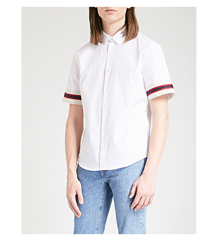 SANDRO Striped-cuffs slim-fit cotton-poplin shirt (White