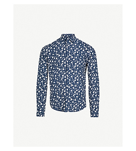 SANDRO Floral-print regular-fit woven shirt (Marine
