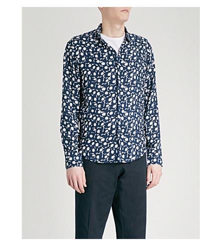 SANDRO Floral-print regular-fit woven shirt (Marine